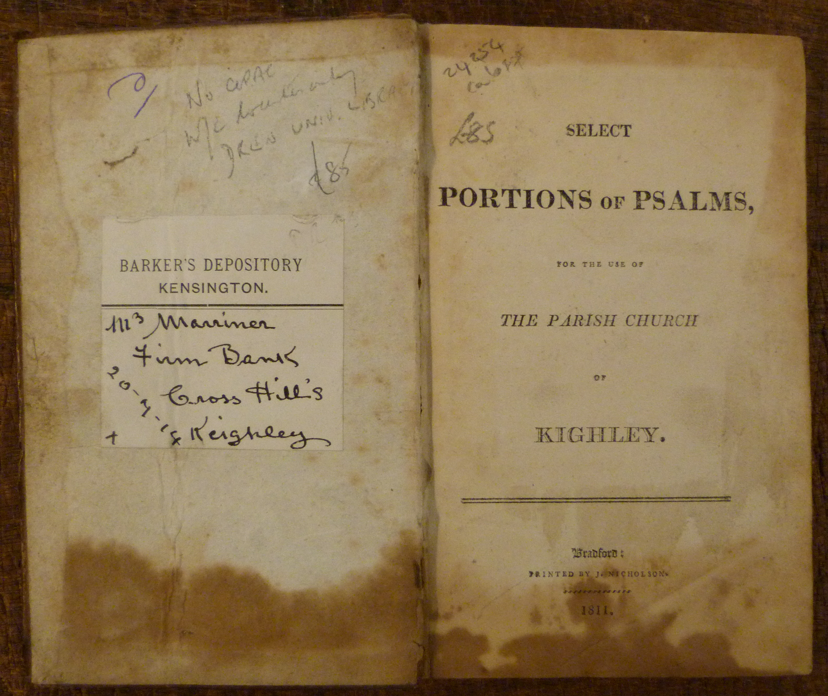 Image for Select Portions of Psalms for the Use of the Parish Church of Kighley